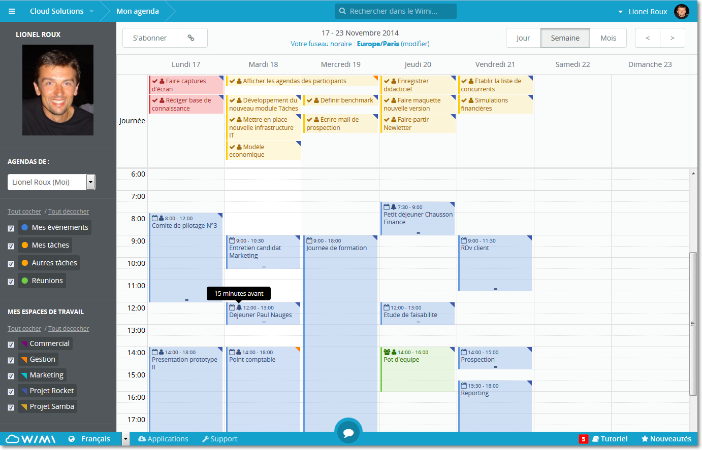 Overview of a WIMI shared calendar in Wimi (at top, shared Tasks)