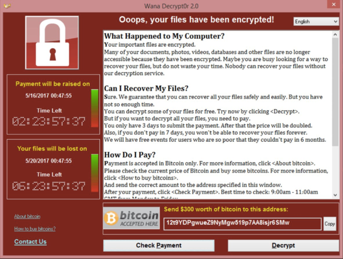 Screen shot of the pop-up window appearing on victims' screens when WannaCry contaminates a device.
