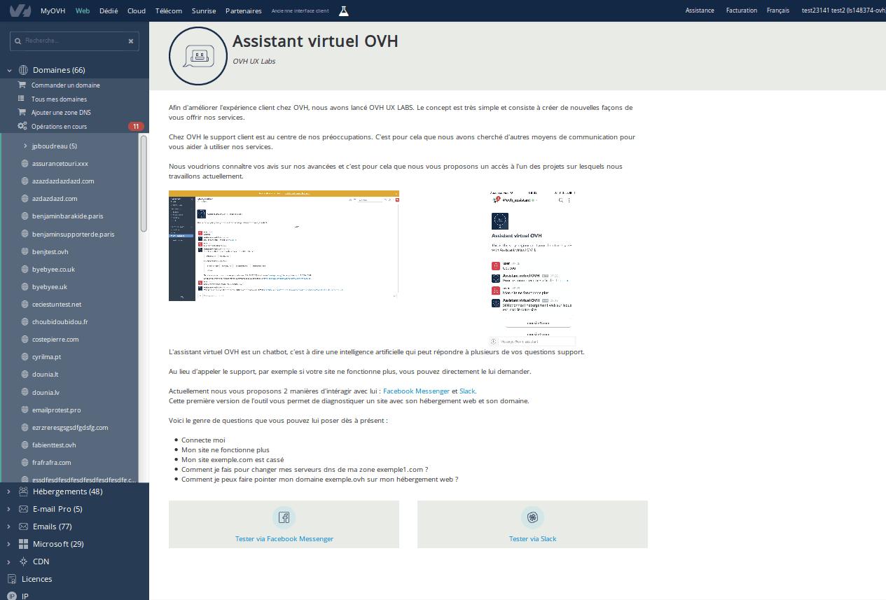 Le premier laboratoire - l'assistant virtuel OVH