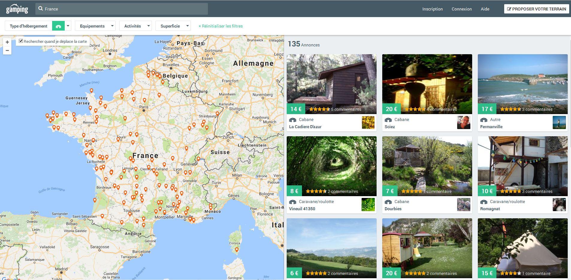La recherche d'un lieu de camping sur le site gamping.fr