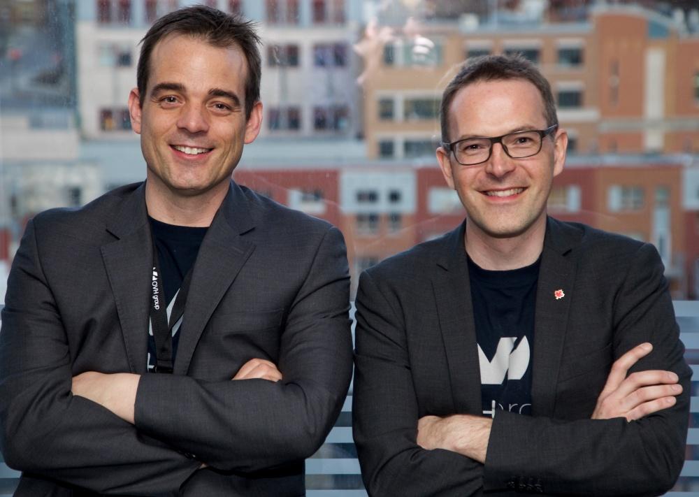 Les deux piliers du bureau R&D de Québec (de gauche a droite) : Franc Hauselmann, Directeur de la Technologie, et Pierre Leroux, VP Expérience Utilisateur