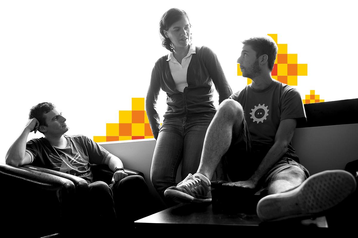 équipe RunAbove, de gauche à droite : Maxime Hurtrel, Adélaïde Moulière et Pierre Ourdouillé.