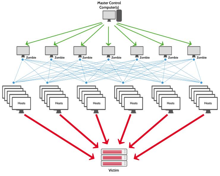schemat pokazujący sposób ataku distributed denial of service