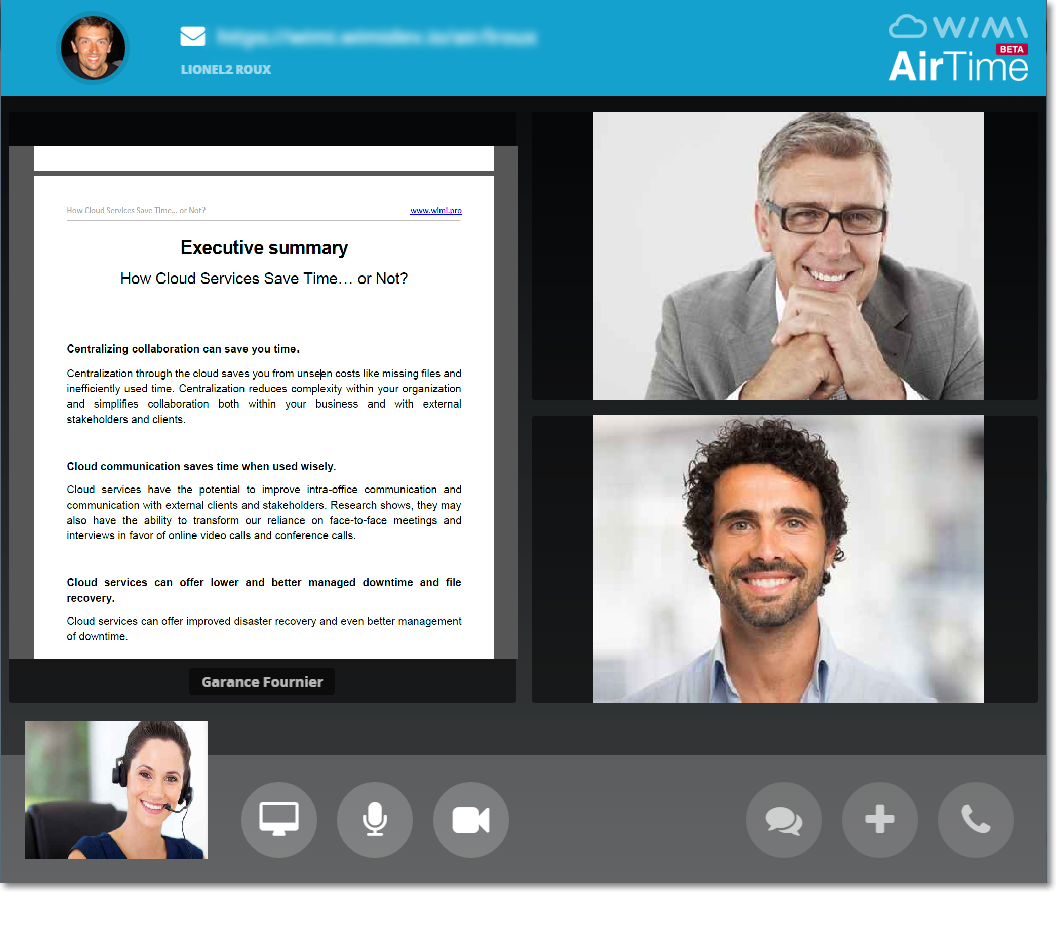 "Overview of ""AirTime"" functionality (videoconferencing directly in the web browser with WebRTC technology)."