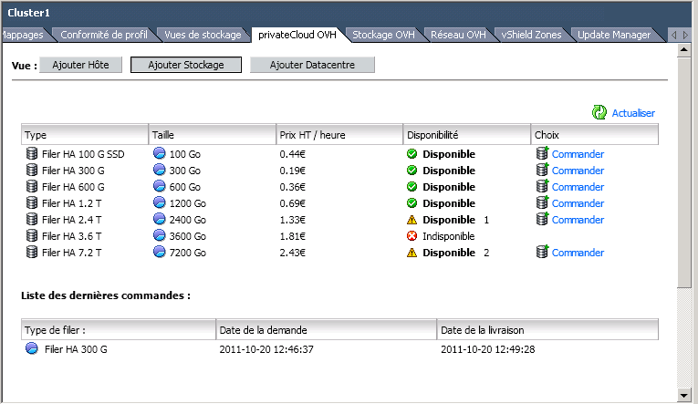 Then Go To The Ovh Private Cloud Tab Or Storage On Right Hand Side Click Order Link Filer Of Your Choice