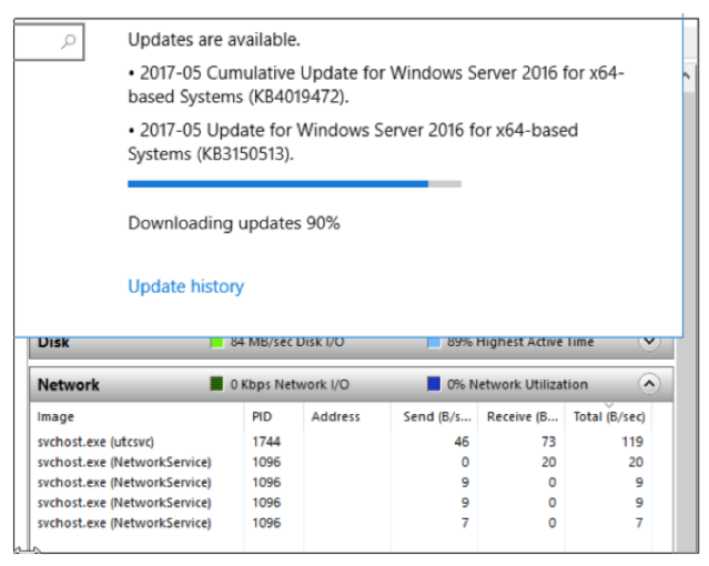 Updating Windows templates was slow on Saturday 13 May: very slow, with the speed on the Microsoft Update platform at less than 100 bytes/second.