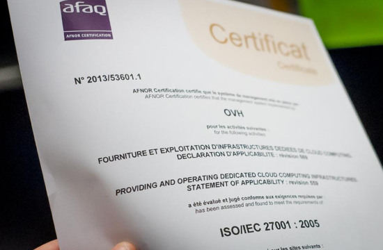 Dedicated Cloud is certified ISO 27001 in Europe.